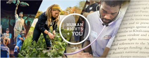 A collage showing college students engaged in various activities related to human rights