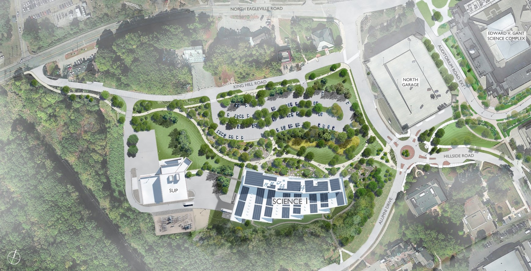 An architect's conception of what the Northwest Science Quad will look like from above once construction is completed.