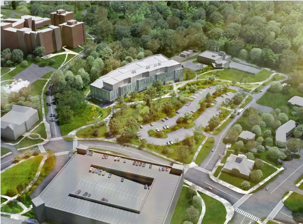 An architect's drawing of the Northwest Science Quad, currently under construction