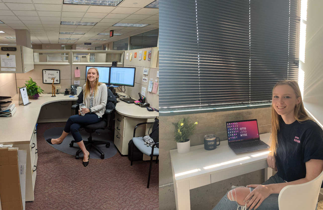 Side-by-side photos showing UConn student Madisyn MacDonald in the office of Otis Elevator, where she is an intern, and then at her desk at home. Her internship has continued remotely during the pandemic.