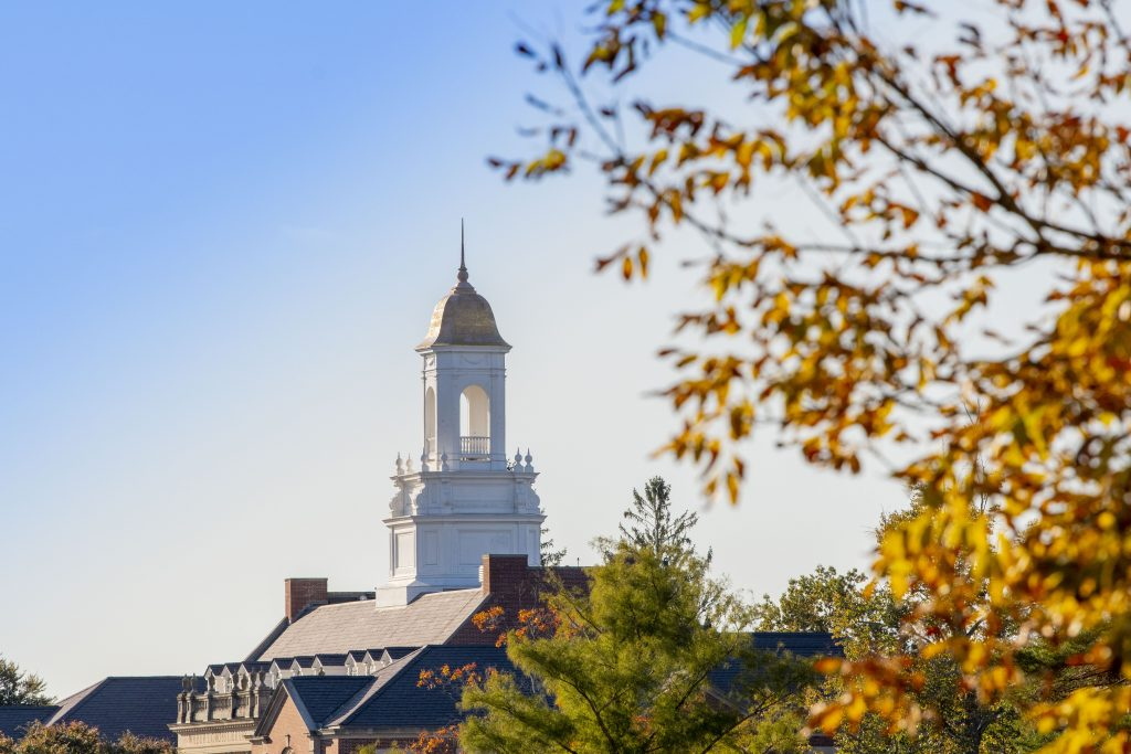 Wilbur Cross framed by fall foliage