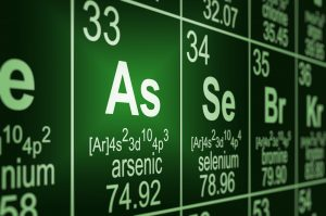 Detail of a partially blurred periodic table of the elements. Focus on arsenic