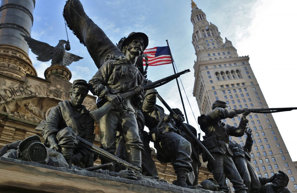 Cuyahoga County Soldiers' and Sailors' Monument is a monument to Civil War soldiers and sailors. Located in the southeast quadrant of Public Square in downtown Cleveland, it opened July 4, 1894. Cleveland, Ohio, USA