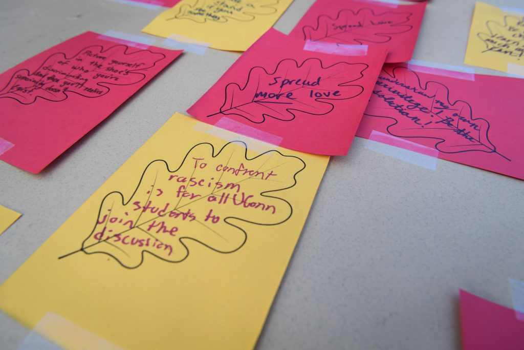 Paper leaves with ideas on how to confront racism at UConn.