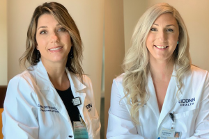 portraits of Elizabeth Haskell and Ashley Brennan-McBride, white coats