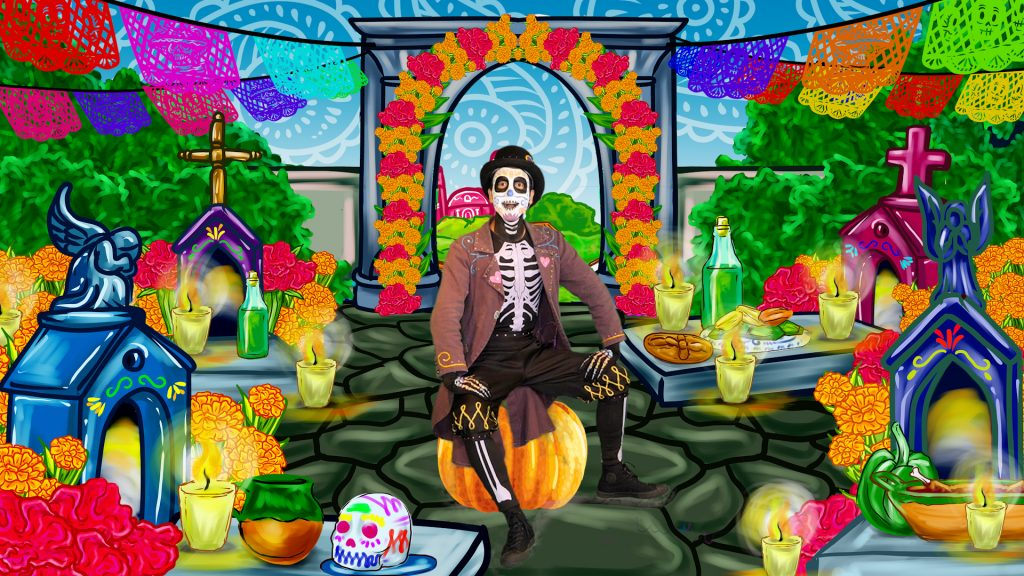 "An actor attired as a garish Dia de los Muertos skeleton, appearing in the play ""Sugar Skull"""