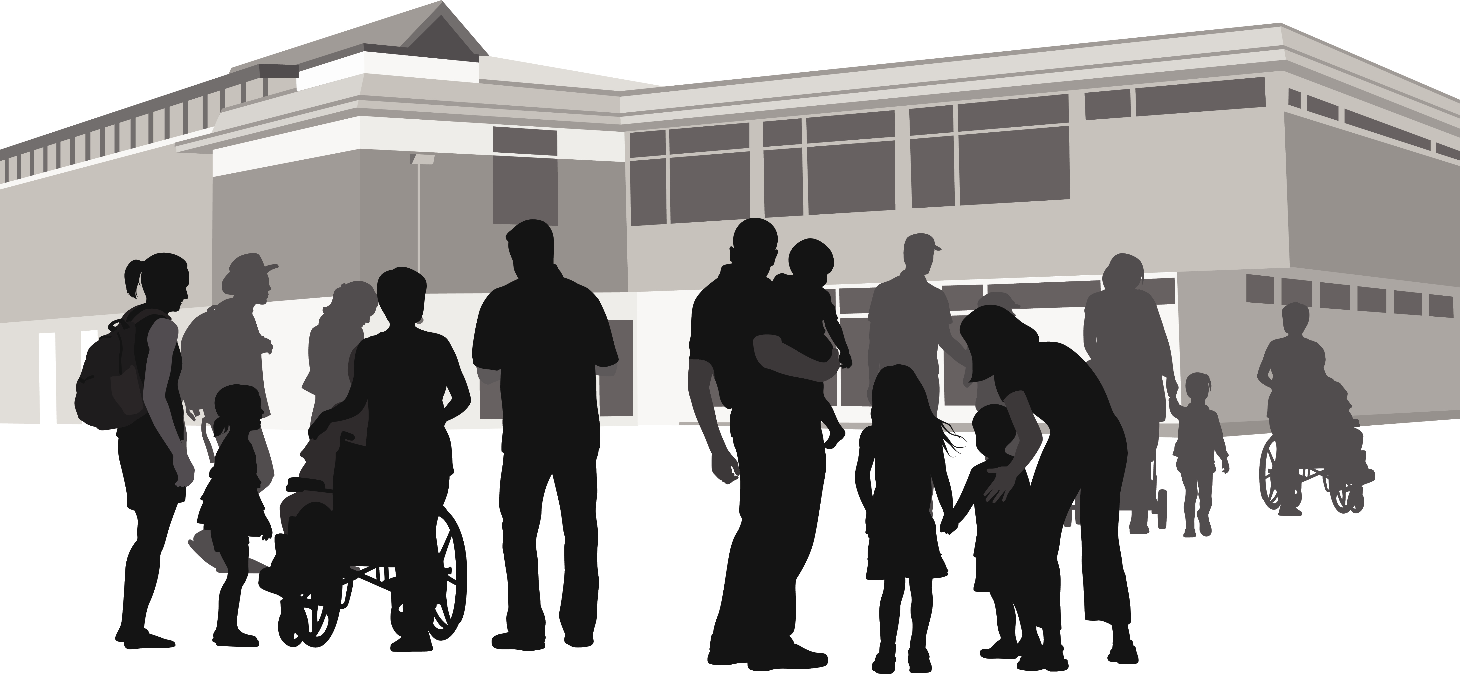 A silhouette vector illustration of several people gathered outside of a comminuty center. There is a young family with three children, a woman pushing a wheelchair, and a young woman waering a backpack with her young daughter.