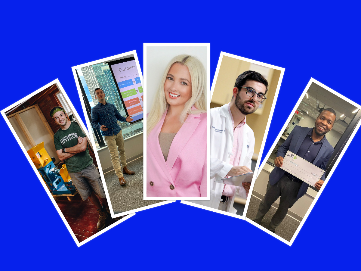 A photo collage showing the finalists in this year's Wolff New Venture Competition.