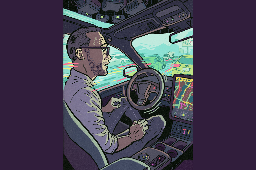 illustration of man sitting in the drivers seat of a self-driving car