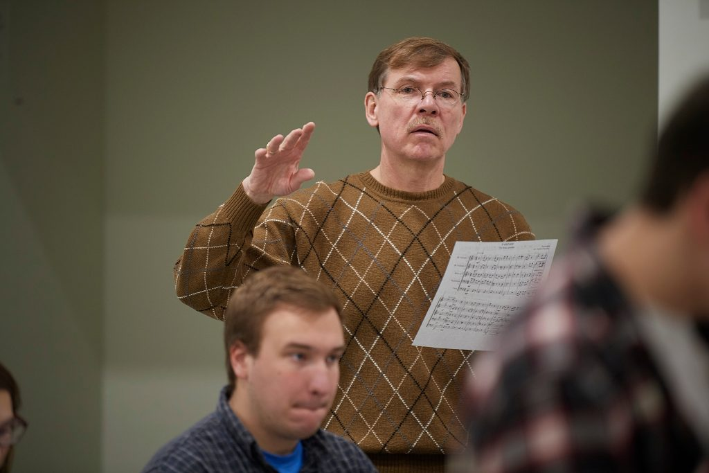 Ken Fuchs, professor of music, teaches a class on music arranging for music educators at the Music Building on March 12, 2019