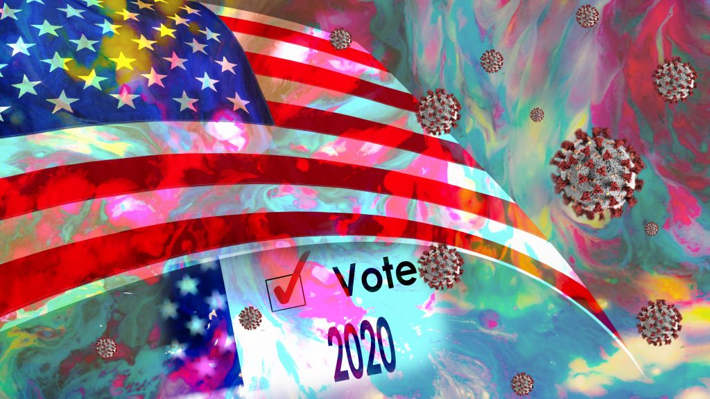 Montage depicting the stress and confusion of the 2020 Presidential election.