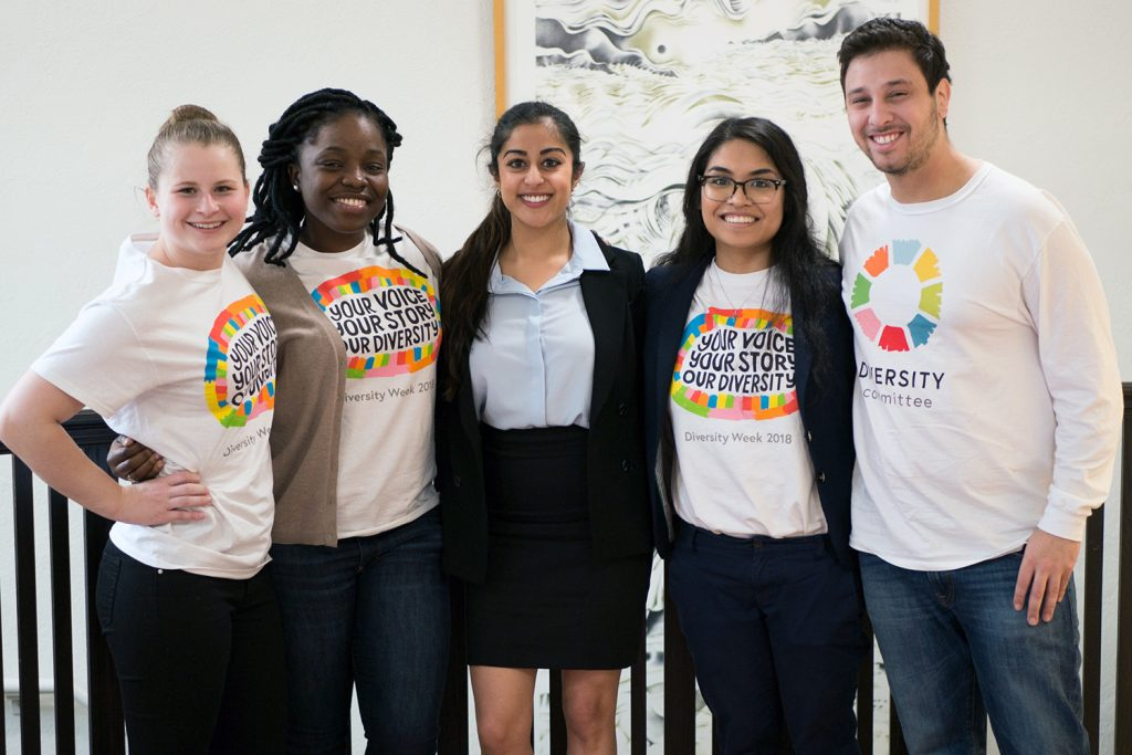 students wearing Diversity Week T-shirts