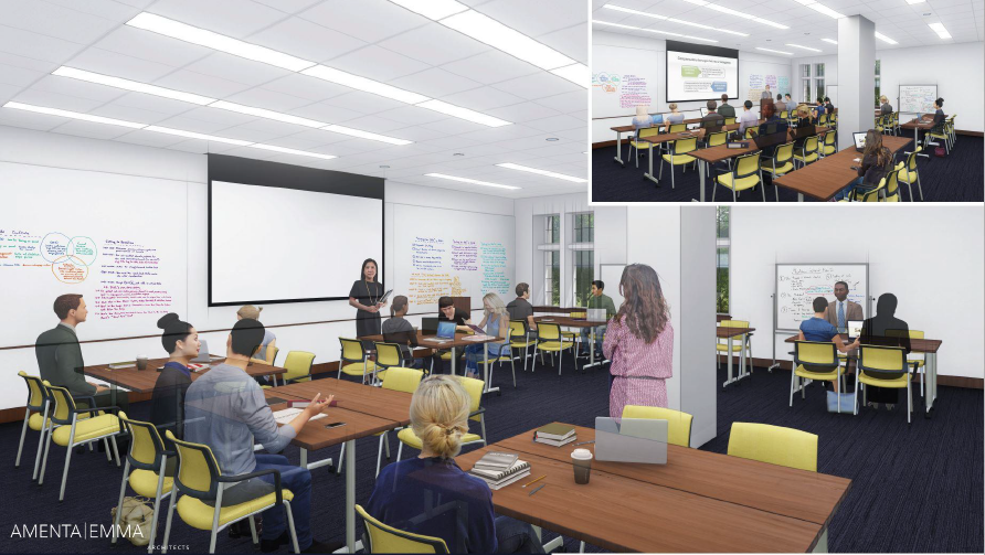 Architect's rendering of the new high-tech classrooms at the UConn School of Law.