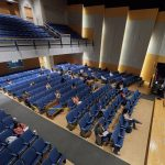 And so began a semester of small classes in large rooms ... (Peter Morenus/UConn photo)