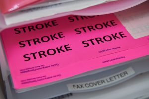 Stroke folders and labels at the Emergency Department at UConn Health in Farmington.