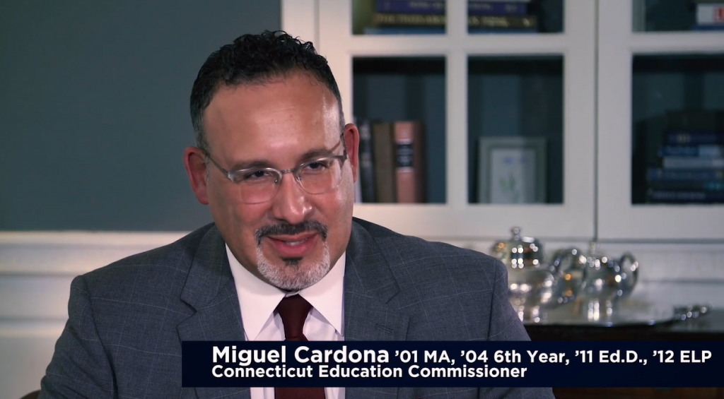 Miguel Cardona, a UConn alum, who has been selected as President-Elect Biden's nominee for Secretary of Education.