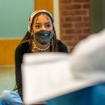 ... masks while studying ... (UConn Photo/Sean Flynn)