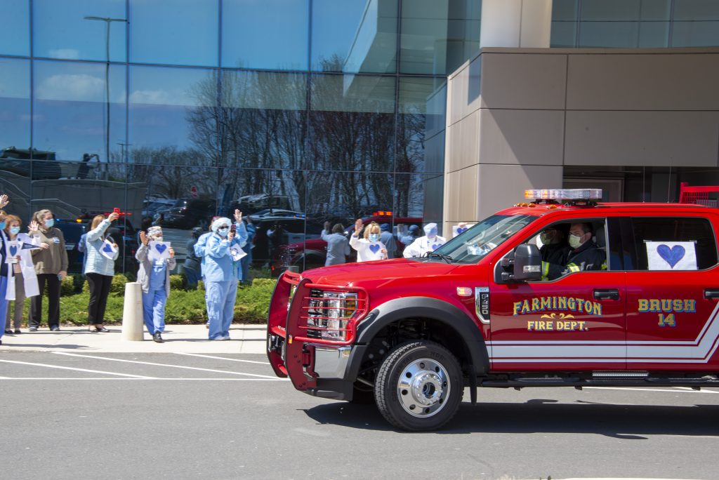 Members of UConn Fire and Police as well as Farmington Center Fire, Tunxis Hose Company, East Farms Fire, West Hartford Fire, AMR Ambulance, Farmington PD held a parade in appreciation for healthcare professionals through the UConn Health main campus to thank and honor those helping patients battle coronavirus. April 15, 2020