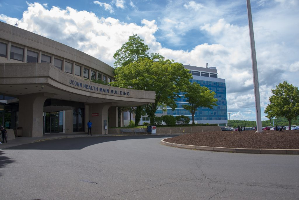 The main building at UConn Health, with the UConn John Dempsey Hospital tower in the background on June 18, 2020