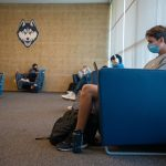 ... masks in the Student Union ... (UConn Photo/Sean Flynn)