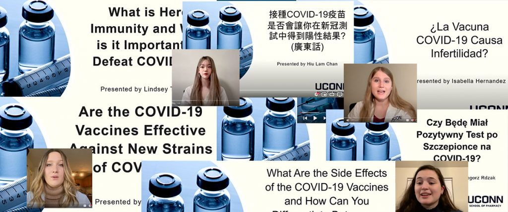 Collage of screen shots of YouTube videos presenting some of the COVID 19 vaccine questions topics being discussed in the linked videos