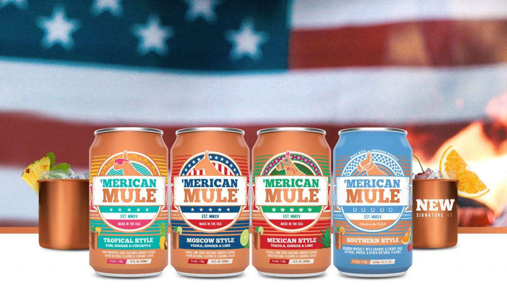 Four different types of the 'Merican Mule cocktail, created by a UConn graduate.