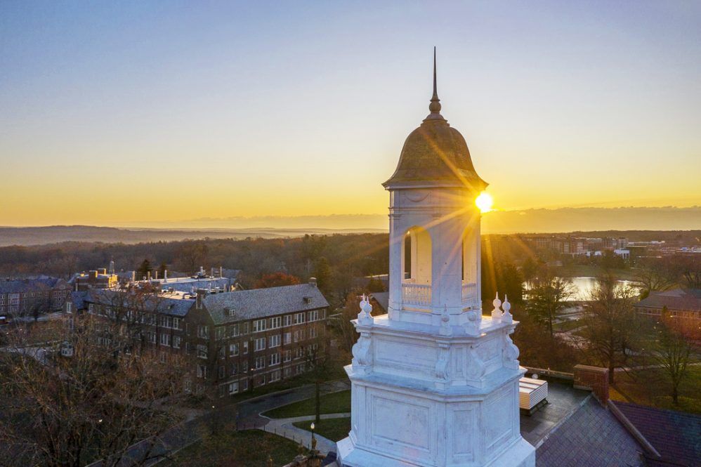 An image from a drone of Wilbur Cross at sunset