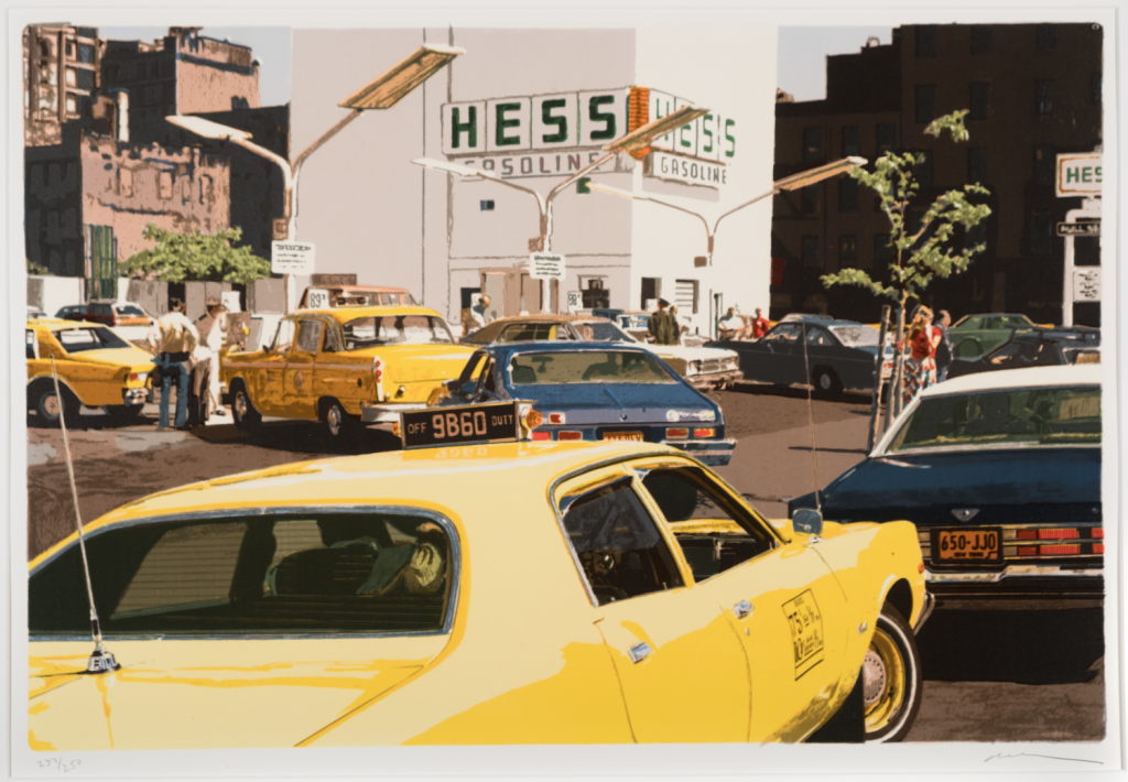 """""""Gas Line from CITY-SCAPES"""" (1979), screen print by Ron Kleemann. Gift of Eugene I. Schuster"""