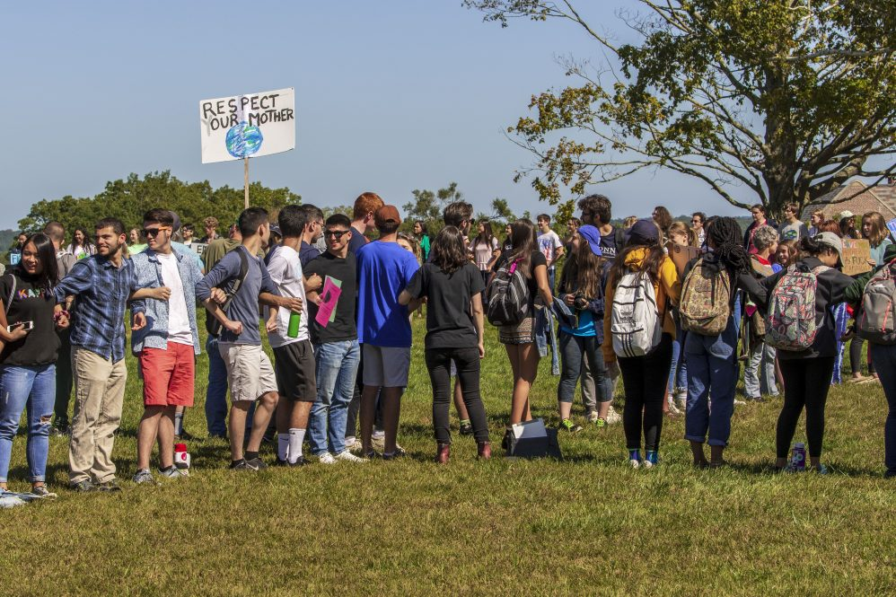 Students gather on the Great Lawn during the Climate Strike on Sept. 20, 2019. (Sean Flynn/UConn Photo)