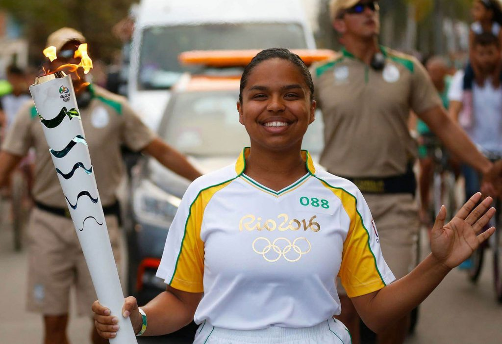 Pauline Batista carrying the 2016 olympic torch