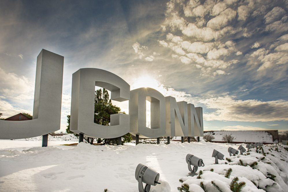Large UConn letter sign on route 195 with snow on Dec. 7, 2020.