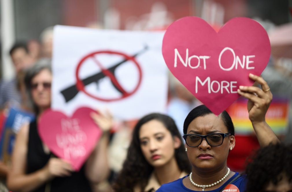 A 2019 rally against gun violence in New York City. An April 1 panel organized by UConn scholars brings together researchers, lawmakers, and activists to share perspectives on the persistent public policy issue.