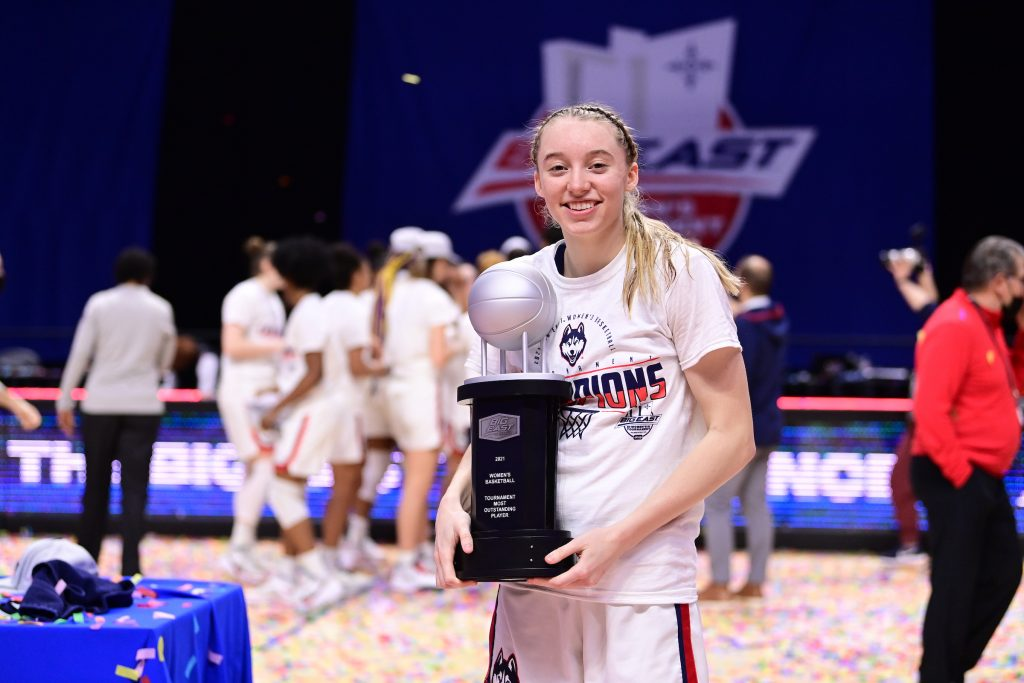 Paige Bueckers was voted Most Outstanding Player in the 2021 the Big East Tournament played at Mohegan Sun Arena.