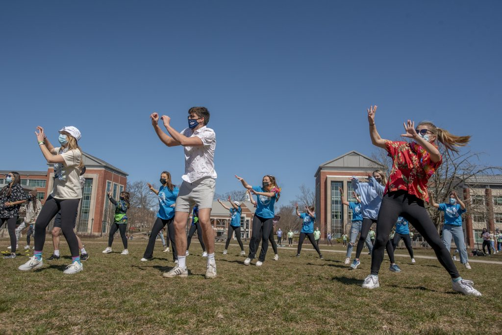 HuskyTHON 2021, dance marathon, is a year-long philanthropic effort at the University of Connecticut to raise funds and awareness for Connecticut Children's, Hospital on  March 20, 2021. (Sean Flynn/UConn Photo)