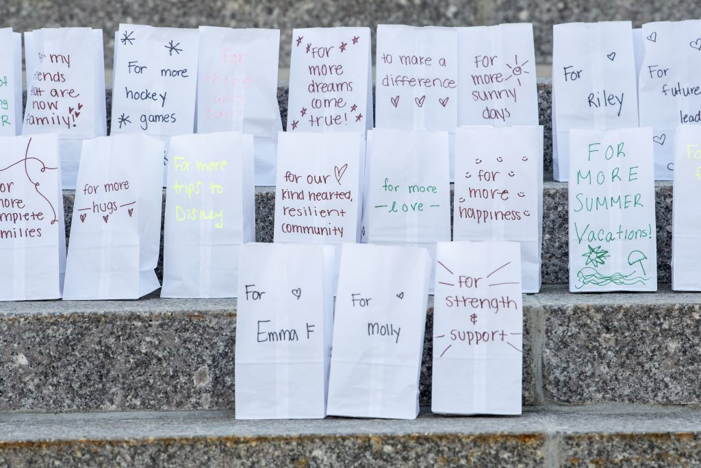 Bags with sayings and wishes written on them for kids at Children's hospital during HuskyTHON 2021 on  March 20, 2021. (Sean Flynn/UConn Photo)
