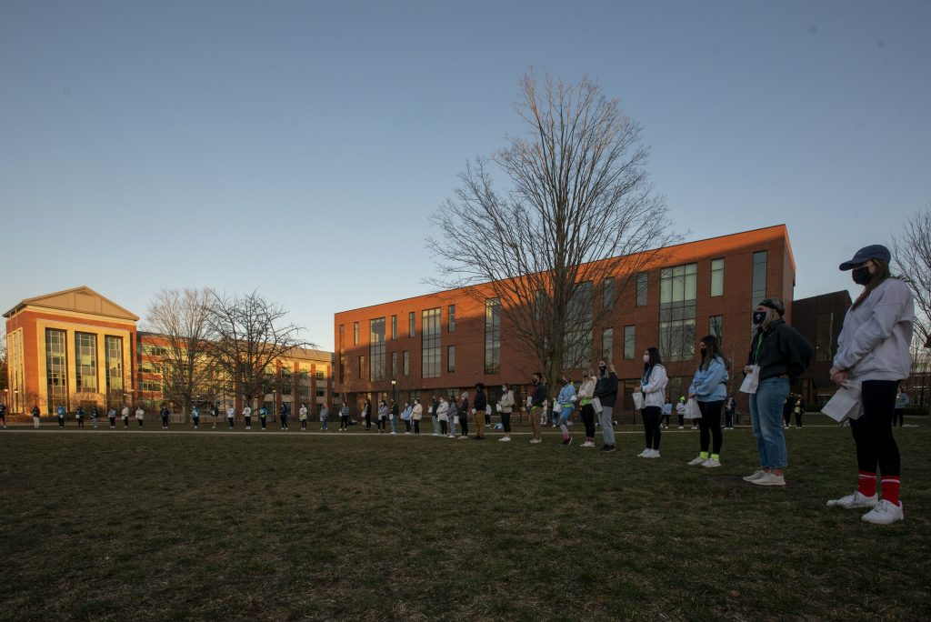 Lighting ceremony during HuskyTHON 2021 on  March 20, 2021. (Sean Flynn/UConn Photo)