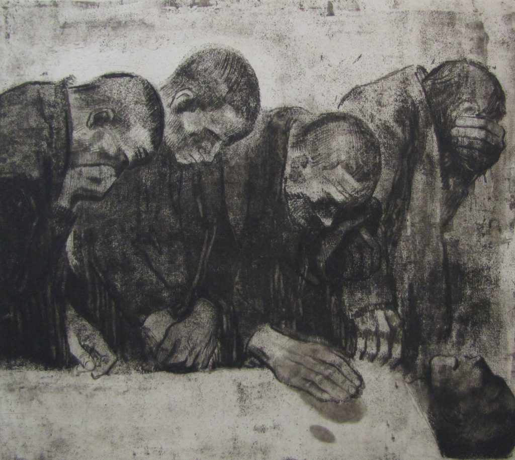 One of Kollwitz's characteristically stark etchings, this depicts workers mourning the German Communist Karl Liebknecht, who was murdered by state forces in 1919.