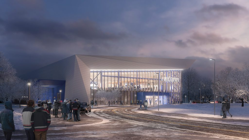 An artist's rendering of the planned ice hockey arena to be built in Storrs.
