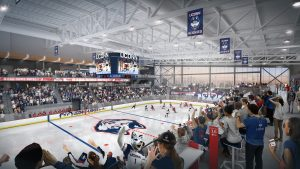 An artist's rendering of the planned ice hockey rink to be built at UConn Storrs.