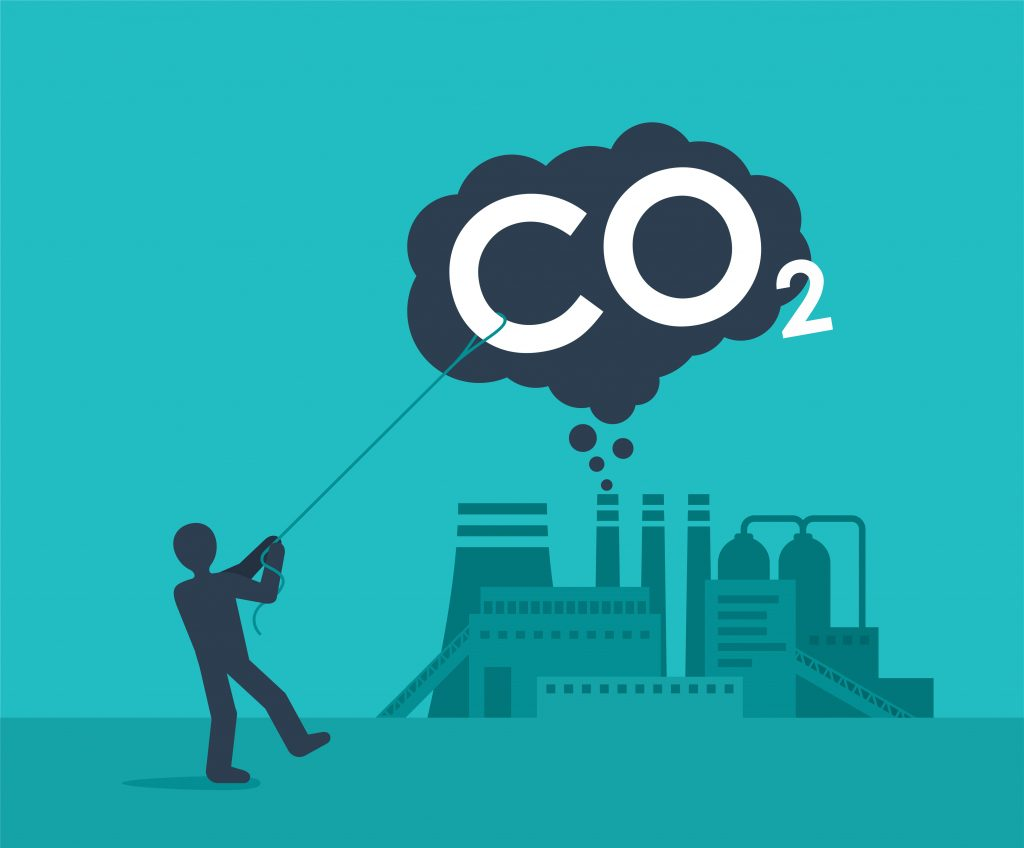 """A cartoon showing a human pulling down a cloud labeled """"CO2,"""" illustrating the effort to improve carbon capture technology."""