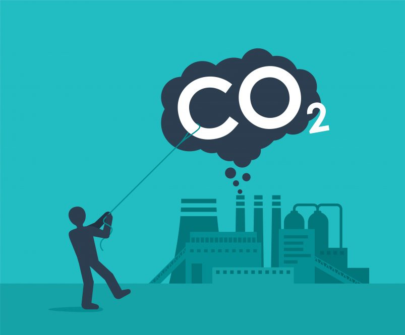"A cartoon showing a human pulling down a cloud labeled ""CO2,"" illustrating the effort to improve carbon capture technology."