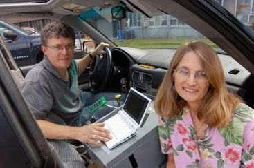 Chris Simon and John Cooley with an earlier version of the mapping datalogger in 2008.