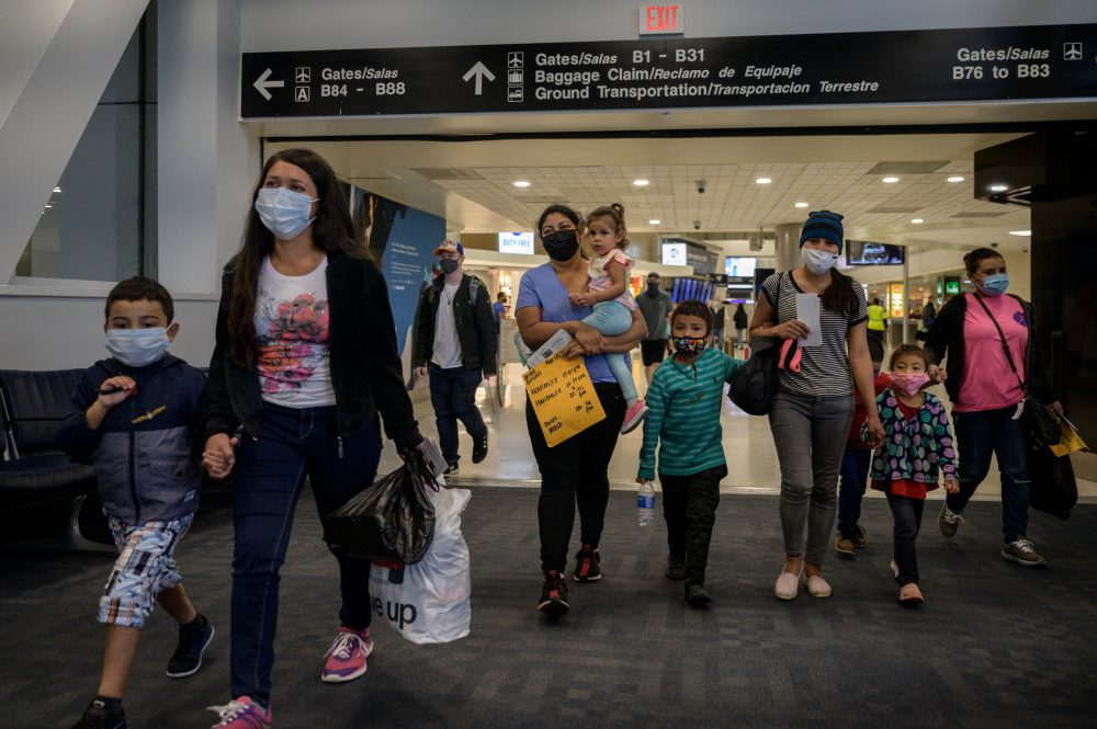 Asylum seekers from El Salvador and Honduras arrive in the US. The number of refugees permitted entry into the US shrank to new lows under the Trump administration. (Photo by ED JONES/AFP via Getty Images)