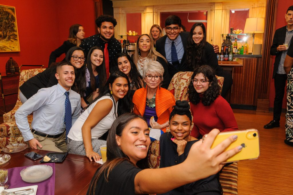 Actress Rita Moreno meets with PRLACC students, staff, and faculty at the Jorgensen Center for the Performing Arts on Nov. 5, 2019. (Kayla Simon/UConn Photo)