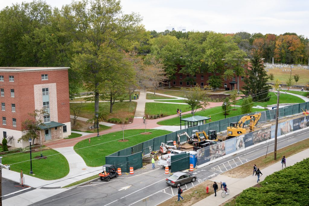 A view of construction along North Eagleville Road near the North Campus Residence Halls on Oct. 16, 2017. (Peter Morenus/UConn Photo)