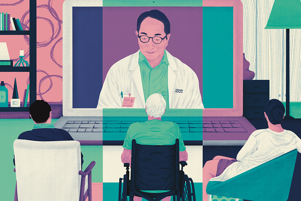 illustration of a doctor on a computer screen talking to three patients in different homes