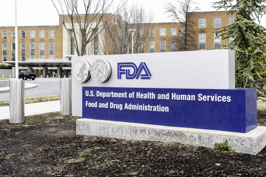 The sign in front of FDA headquarters in the Washington, D.C. area.