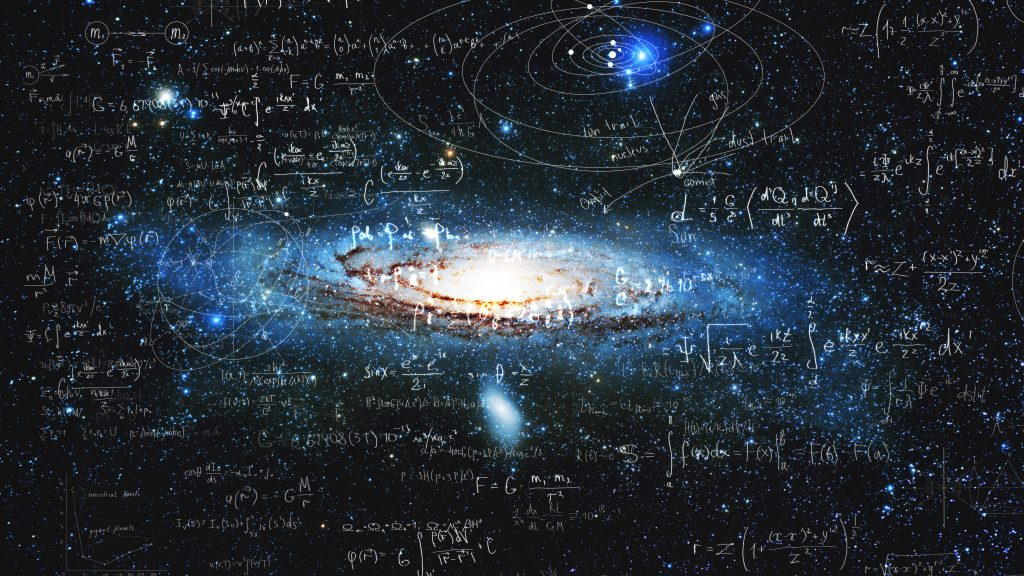 An illustration that blends physics equations with a picture of a distant galaxy.