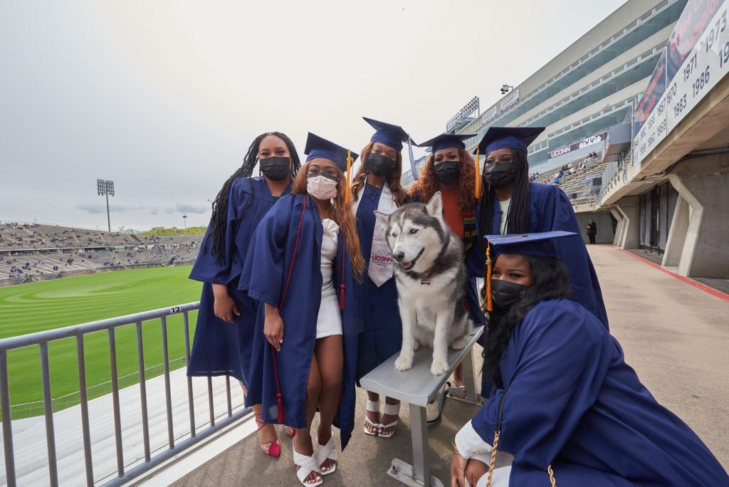 Jonathan XIV visits with graduates before the Class of 2020 Commencement ceremony at Pratt & Whitney Stadium at Rentschler Field in East Hartford on May 8, 2021. (Peter Morenus/UConn Photo)