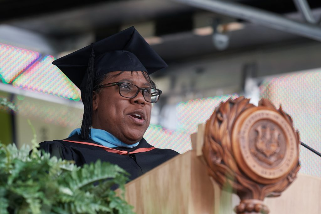 Montique (Mo) Cotton Kelly, UConn Foundation vice-president of alumni relations and communications, gives the address at the Class of 2020 Commencement ceremony at Pratt & Whitney Stadium at Rentschler Field in East Hartford on May 8, 2021. (Peter Morenus/UConn Photo)